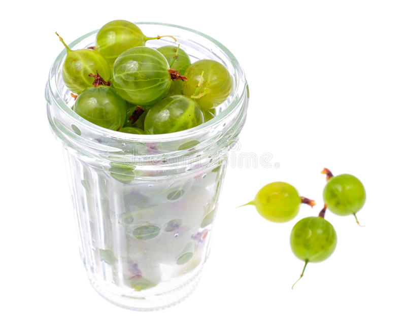 Mature, sweet green gooseberry, isolated on white background stock photos