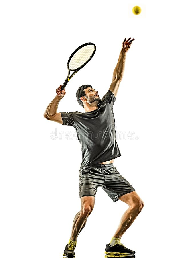 Free Mature Tennis Player Man Serving Service Isolated White Background Royalty Free Stock Image - 177350996