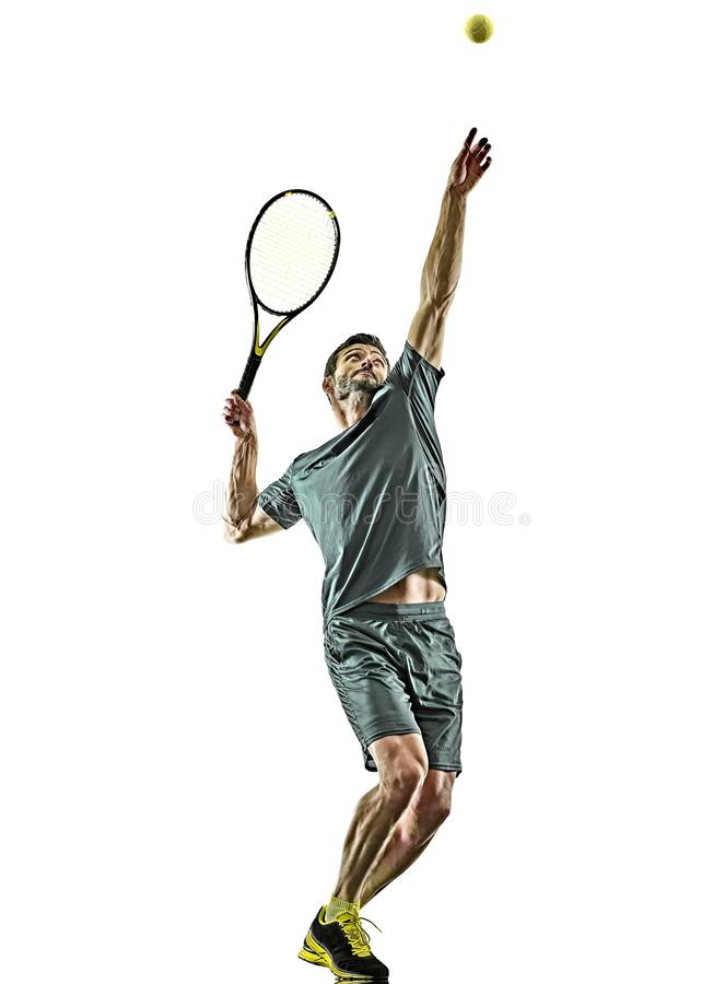 Mature tennis player man serving service isolated white background. One caucasian mature tennis player man serving service in studio isolated on white background royalty free stock image