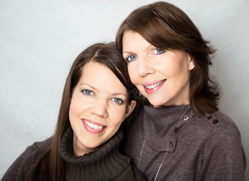 Mature woman and adult daughter stock photography