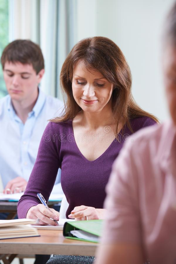 Mature Woman In Adult Education Class royalty free stock photos