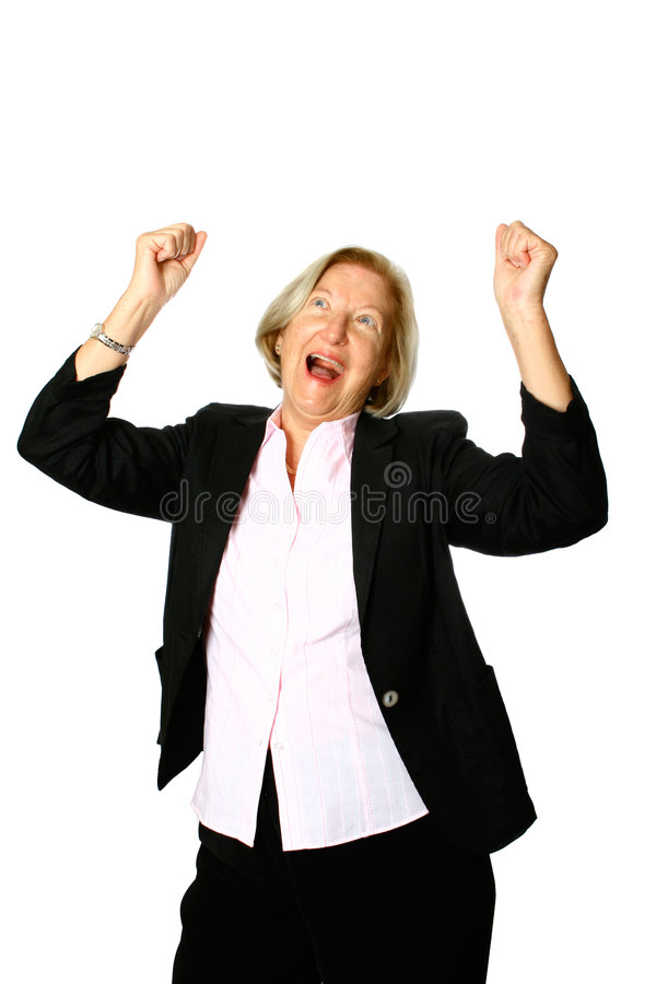 Mature woman celebrates royalty free stock images