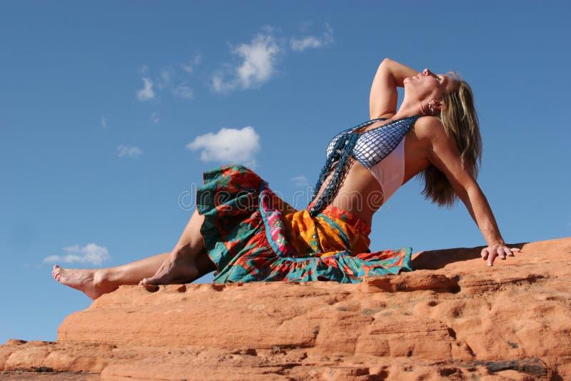 Mature woman dancing royalty free stock photography