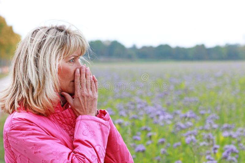 Mature woman with depression royalty free stock photos