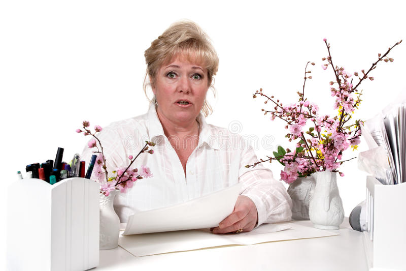 Download Mature woman at desk stock photo. Image of office, talk - 21422294