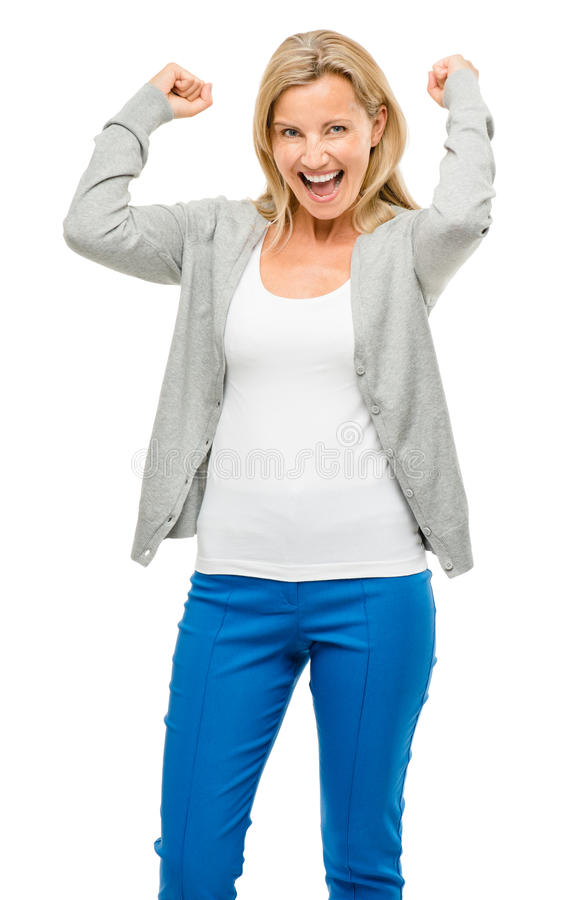 Mature woman excited isolated on white background royalty free stock photo