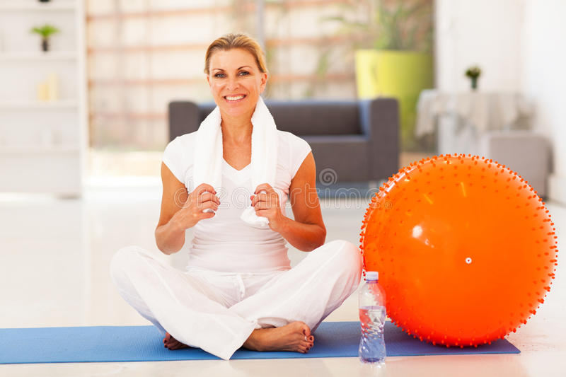 Mature woman fitness royalty free stock images