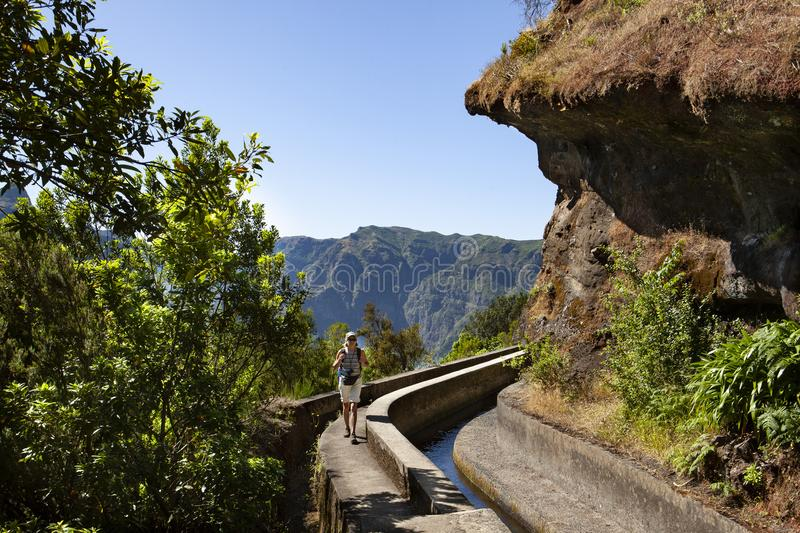 Hiking Madeira. Mature woman hiking along the levada, mountain water channel in Madeira stock image