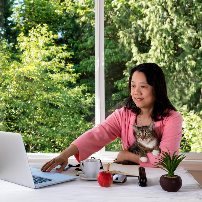 Mature woman holding her family pet cat while working from home. Mature woman, wearing morning attire, holding her family pet cat while working from home in royalty free stock photo