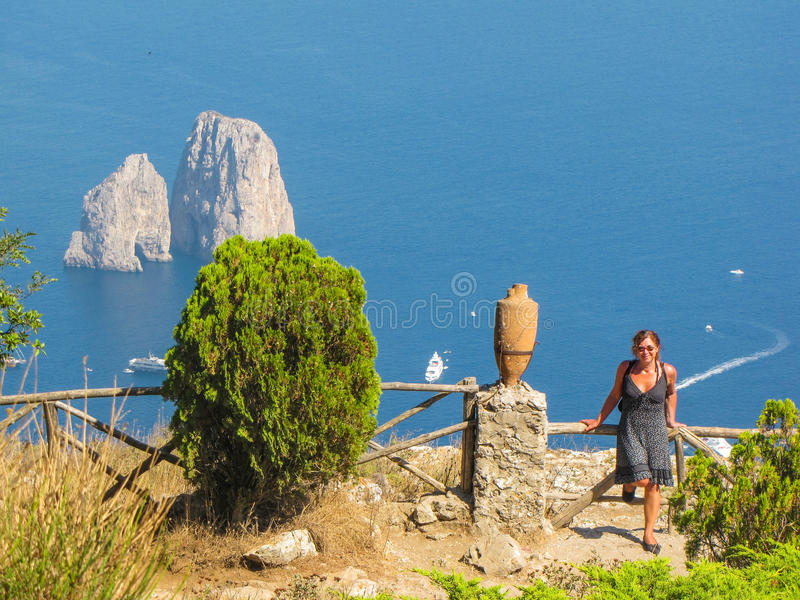 Mature woman in holiday in Capri, Italy stock images