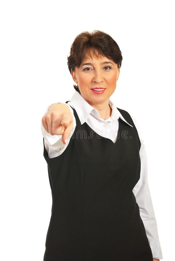 Download Mature Woman Pointing Forward Stock Image - Image: 18589205