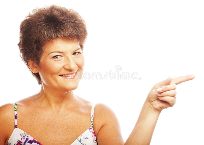 Download Mature Woman Pointing Stock Photo - Image: 39697659