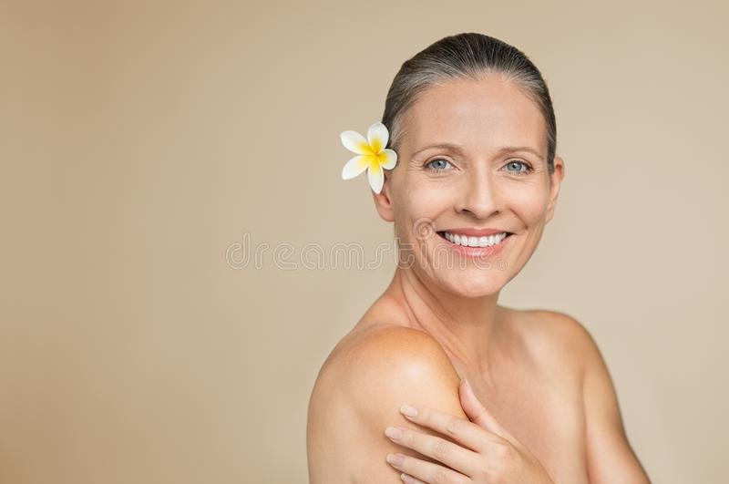 Mature woman skincare royalty free stock photos