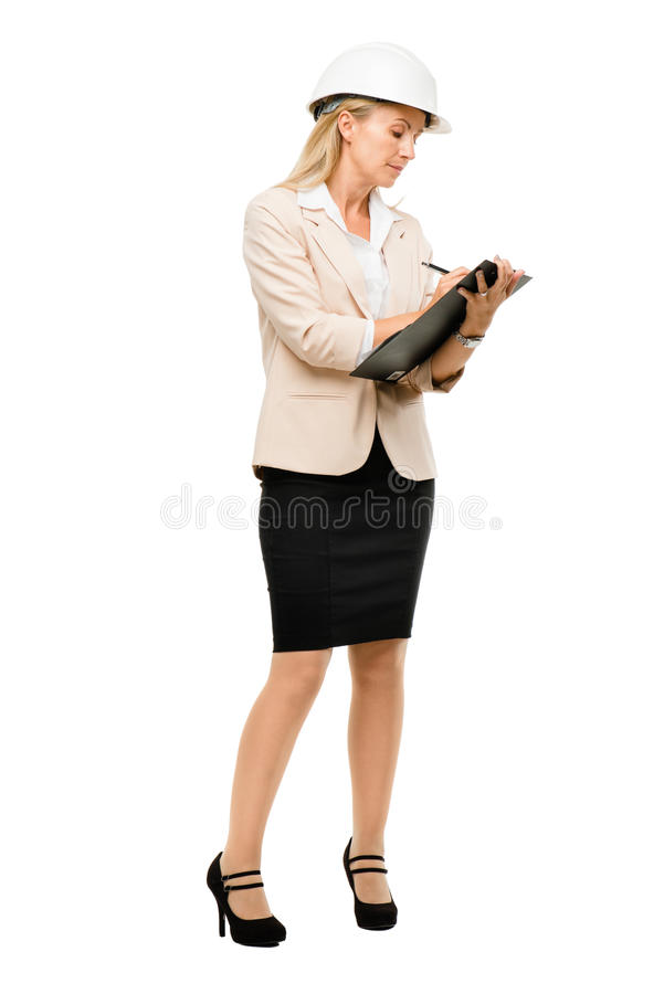 Mature woman supervisor wearing hard hat isolated on white backg