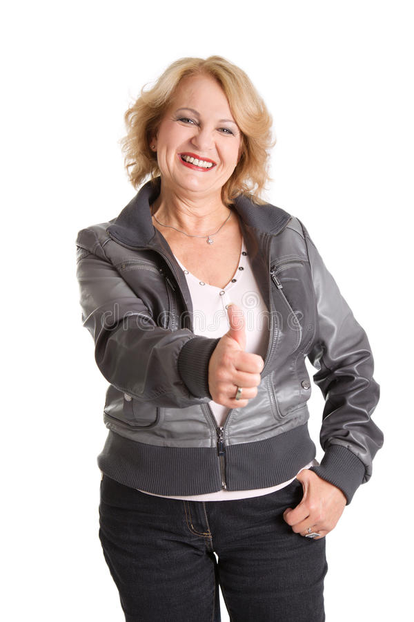 Mature woman thumbs up - elder woman isolated on white background stock images