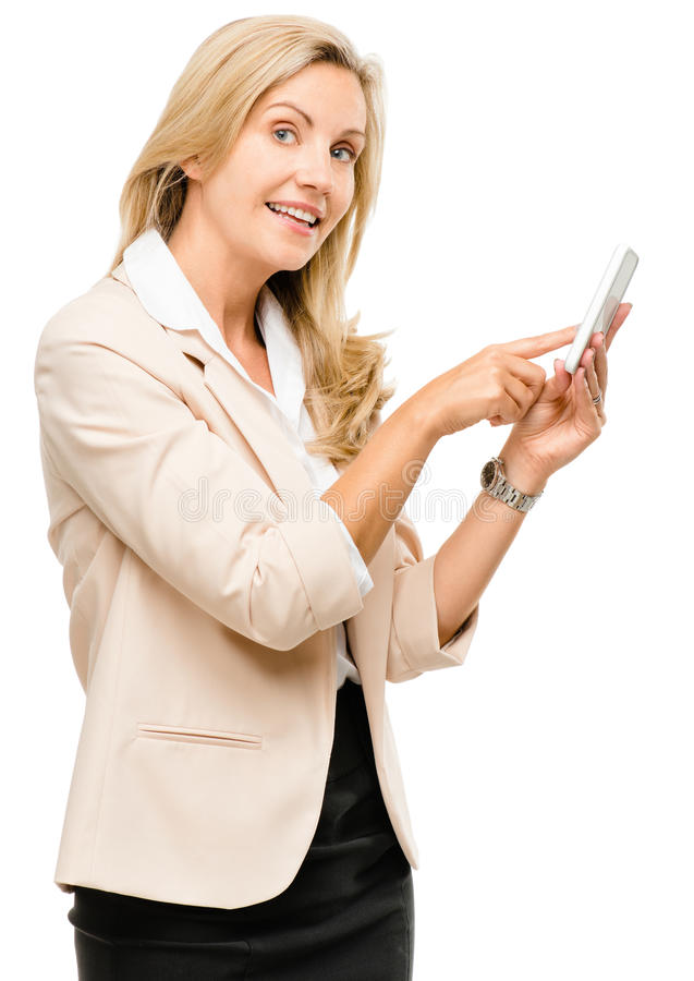 Download Mature Woman Using Smartphone Touchscreen Isolated On White Back Stock Photo - Image of call, beautiful: 31643262
