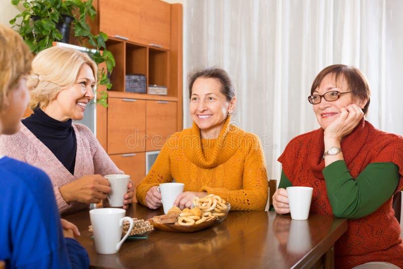 Mature women drinking tea royalty free stock photography