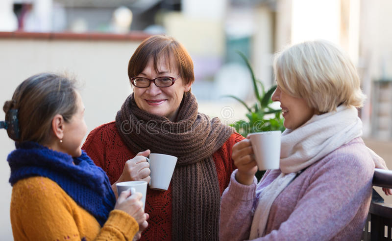Mature women drinking tea. Two mature women drinking tea on balcony and smiling royalty free stock photos