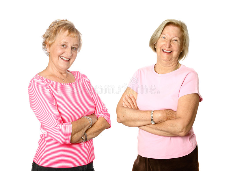 Mature women friends stock photography