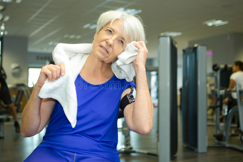 Mature women at gym. Mature women at the gym stock photography