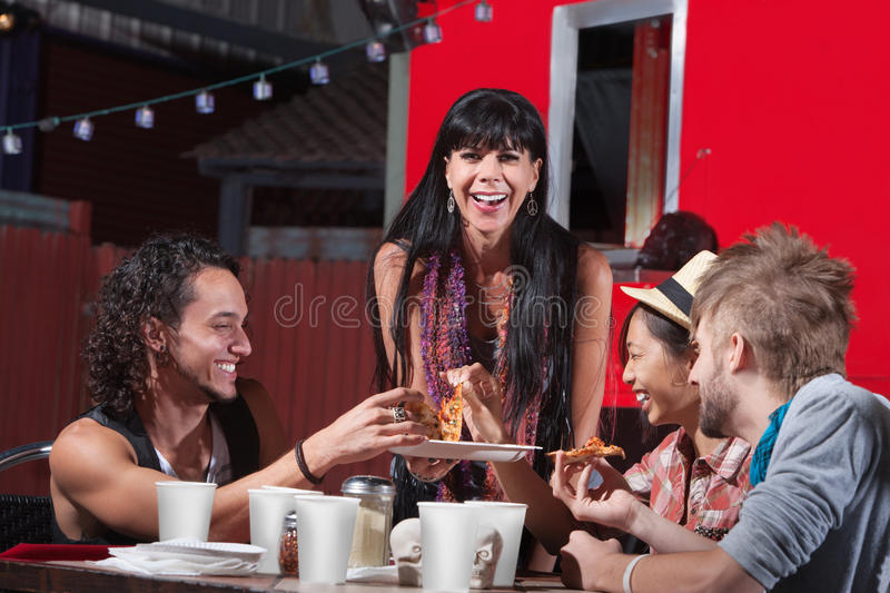 Pizza Dinner at Food Truck stock image