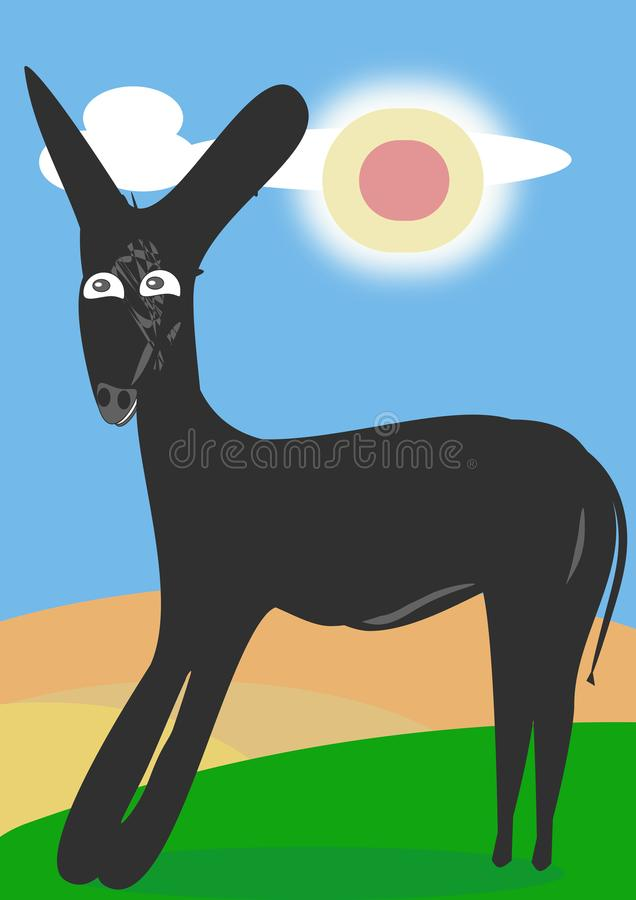 The maturity of the years. Adult donkey in the field attentive and expectant on the grass and a blue sky with a warm and benign sun stock illustration