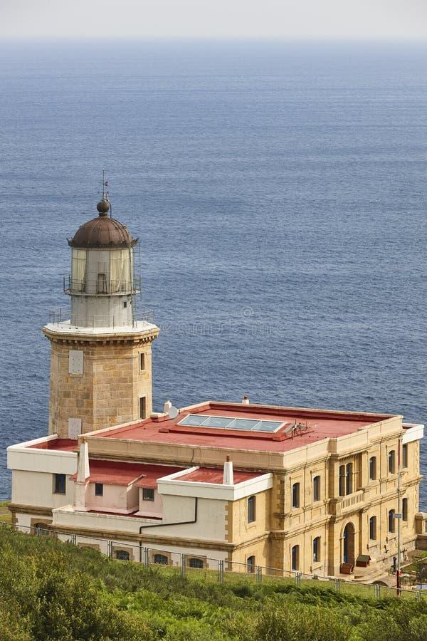 Matxitxaco stone lighthouse and cantabrian sea in Euskadi. Spain. Matxitxaco stone lighthouse and cantabrian sea in Basque Country. Spain stock image