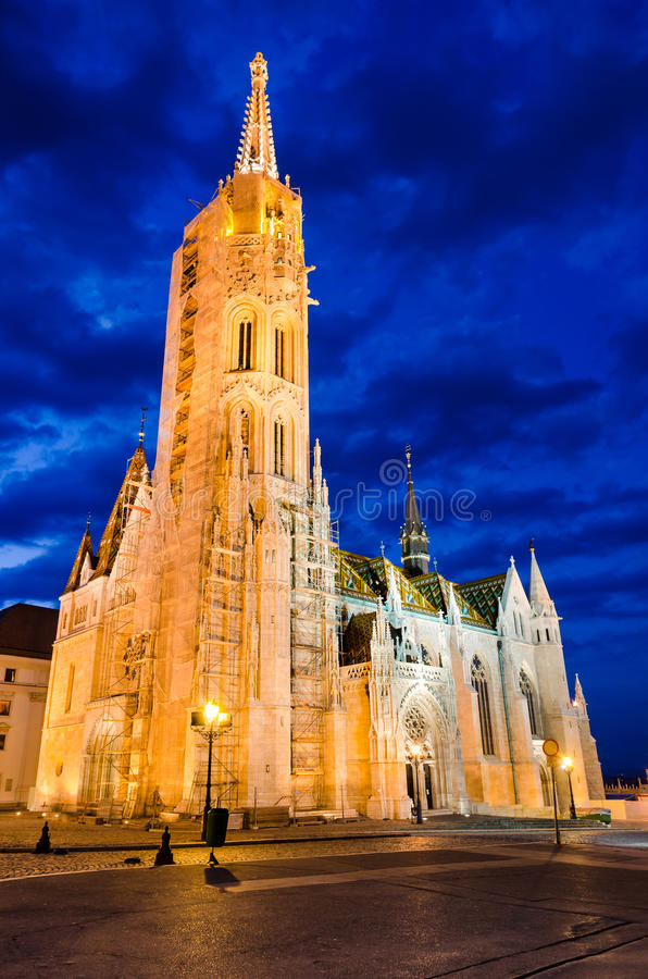 Matyas or Matthias Church in Budapest, twilight. royalty free stock images