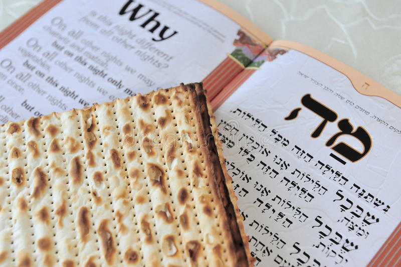 Matza with Haggadah for Jewish Holiday Passover. Traditional Jewish Matzo sheets on a Passover Seder table. Passover is a Jewish holiday festival. It royalty free stock images