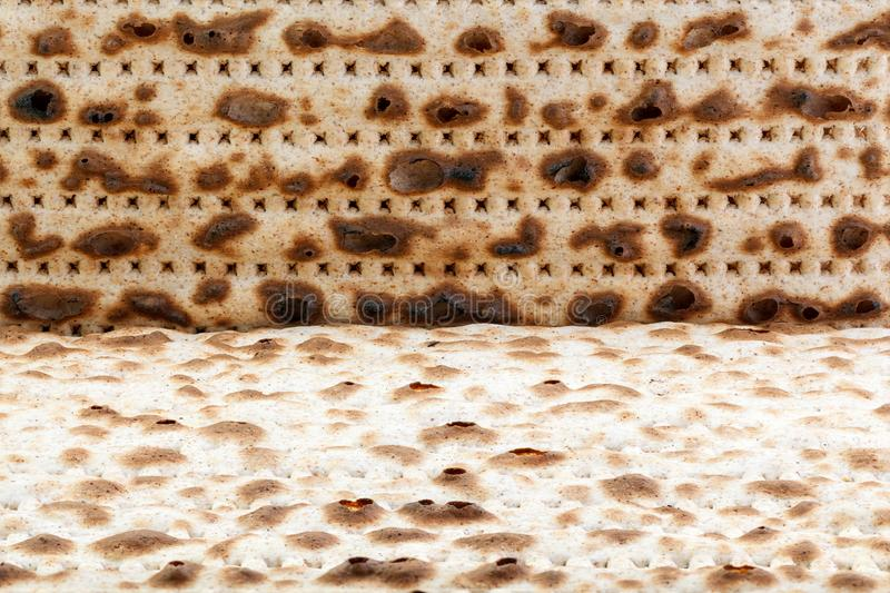 Matzah. Jewish traditional Passover bread. Pesach celebration symbol. Close-up stock photo