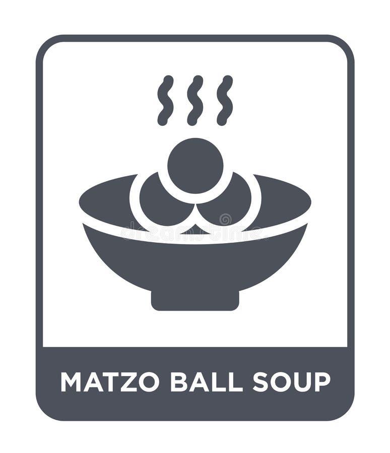 Matzoball-Suppenikone in der modischen Entwurfsart Matzoball-Suppenikone lokalisiert auf weißem Hintergrund Matzoball-Suppenvekto stock abbildung