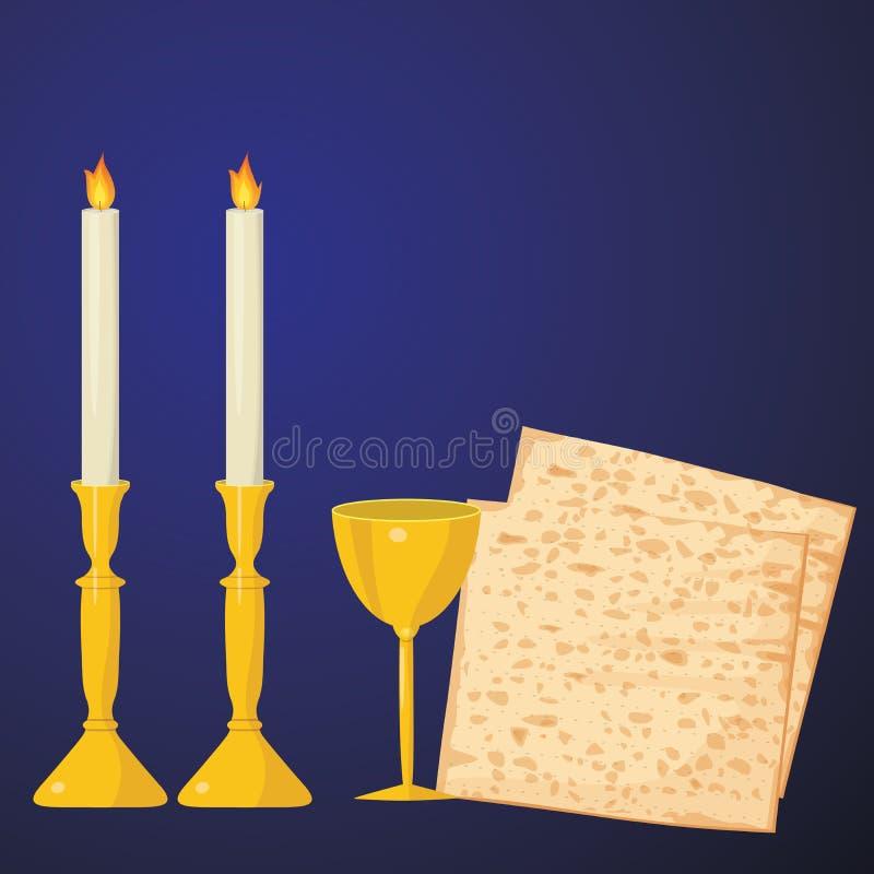 Matzoh e vinho em um fundo azul ilustração royalty free