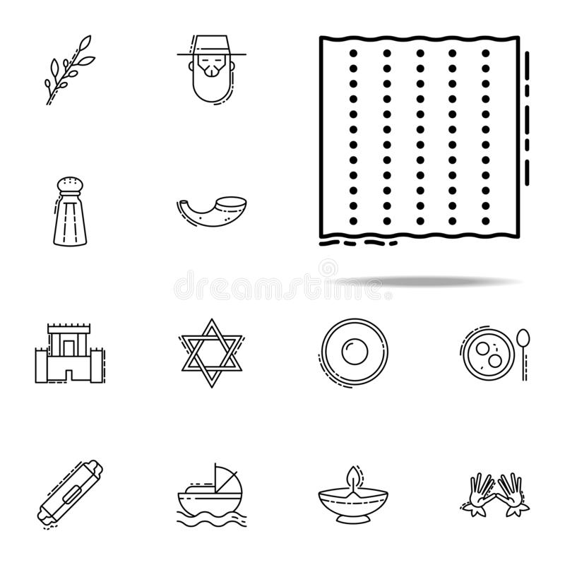 Matzosymbol Universell uppsättning för judendomsymboler för rengöringsduk och mobil stock illustrationer