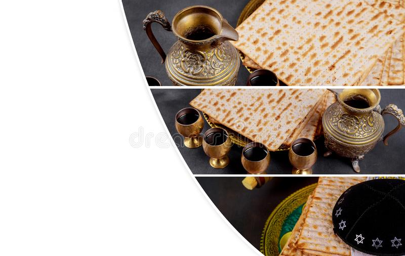 Matzot and four glasses of red wine symbols of Passover stock photos