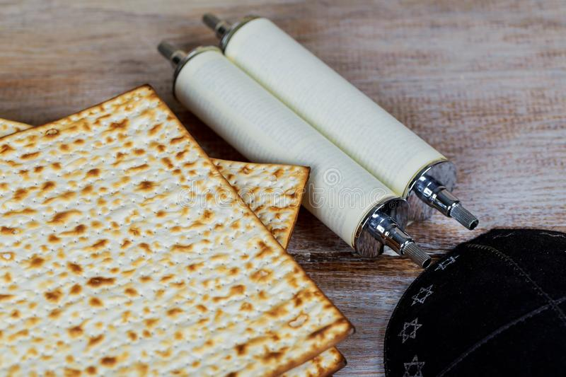 Matzot and red wine -symbols of Passover stock image