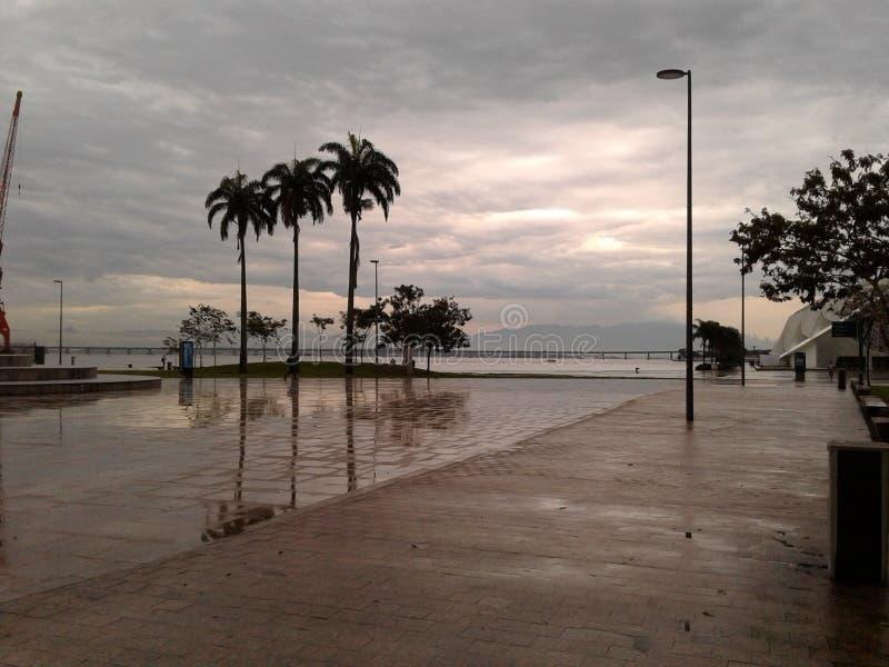 Maua square Rio de Janeiro Downtown Brazil. Maua square Rio de Janeiro Downtown. Square, rainy day, palm trees, cloudy sky, horizon, city, landscape stock images
