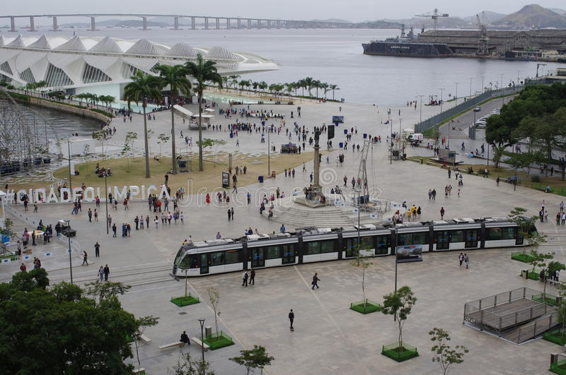 Maua Square in Rio de Janeiro. Old port area with statue of the Barão de Mauá, industrial pioneer of Brazil, and Museum of Tomorrow with hashtag Olympic stock photography