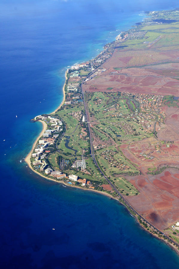 Maui from the air stock photo