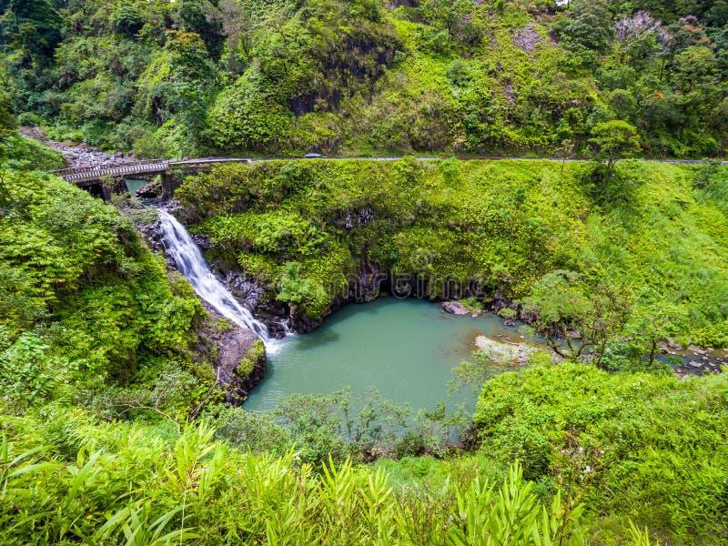 Maui, Hawaii Hana Highway Wailua Iki Falls Road to Hana connects Kahului to Hana stock photos