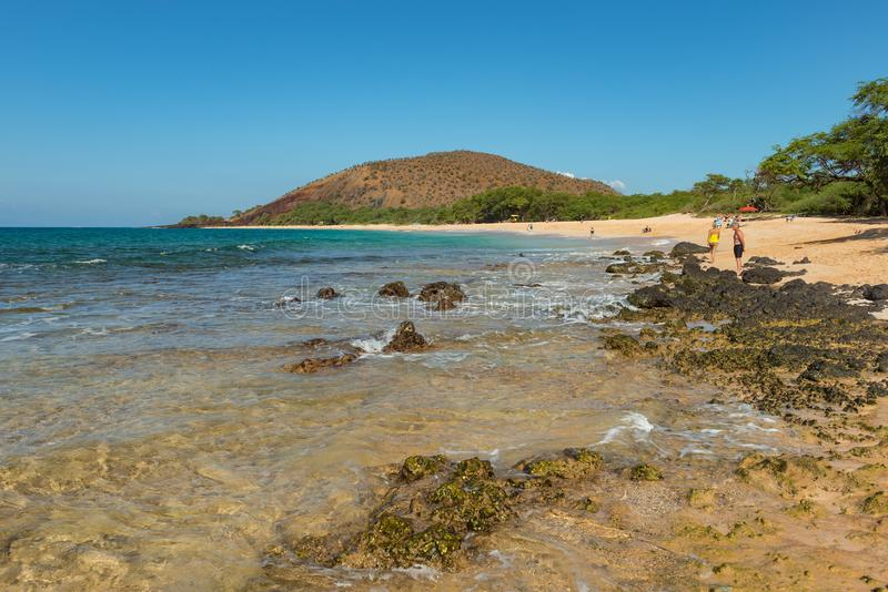 MAUI, HAWAII, USA-DECEMBER 16, 2013: People relaxing in the sun. At famous sandy makeena beach royalty free stock images