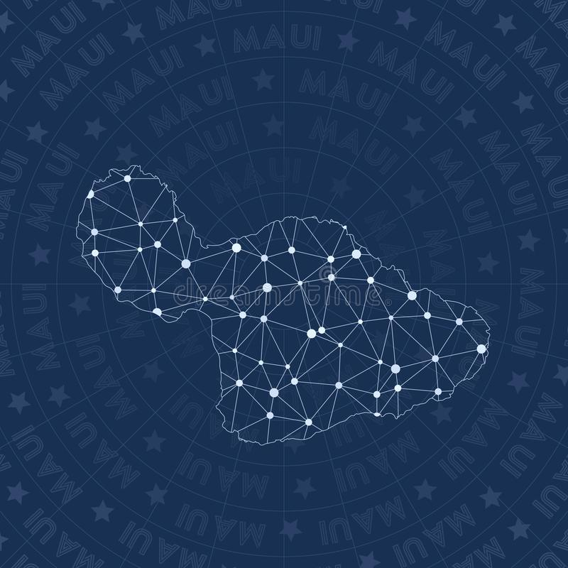 Maui network, constellation style island map. Creative space style, modern design. Maui network map for infographics or presentation stock illustration