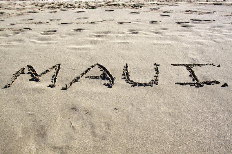 Download Maui in the Sand stock photo. Image of message, word - 22999038