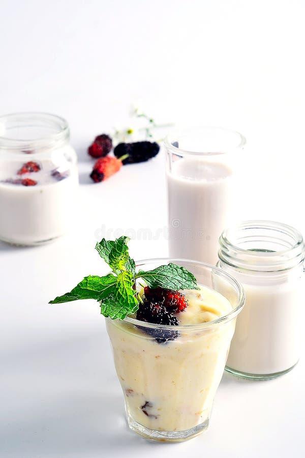Maulbeerjoghurt stockfotos