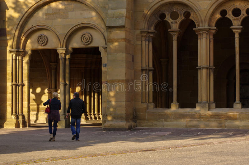MAULBRONN, NIEMCY - MAI 17, 2015: gothic stylów domy przy monasterem, część UNESCO światowego dziedzictwa miejsce zdjęcie stock