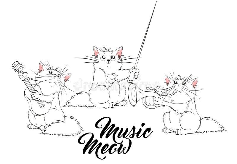 Maullido de la música Sistema del vector de gatos lindos de la primavera stock de ilustración