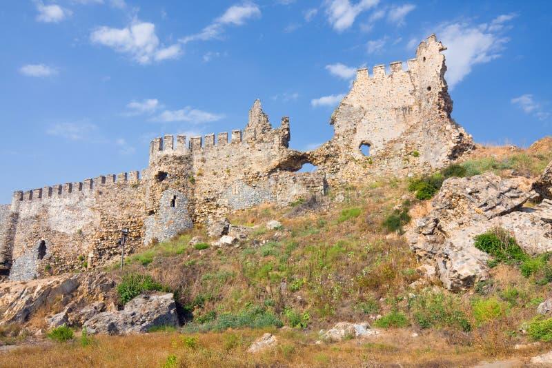 Maumere fästning nära Anamur, Turkiet arkivbild