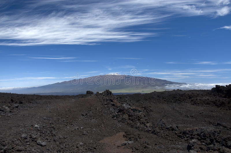 Mauna Kea from Mauna Loa. stock photos