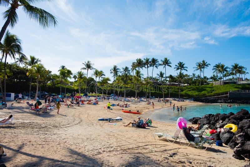 Crowded Mauna Lani Beach Big Island Hawaii. MAUNA LANI BAY, HAWAII - JANUARY 5, 2018: Mauna Lani Beach is very crowded on a warm day on the Big Island of Hawaii stock image