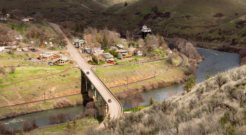 Maupin Oregon Downtown Aerial View Deschutes River Highway 197 royalty free stock image