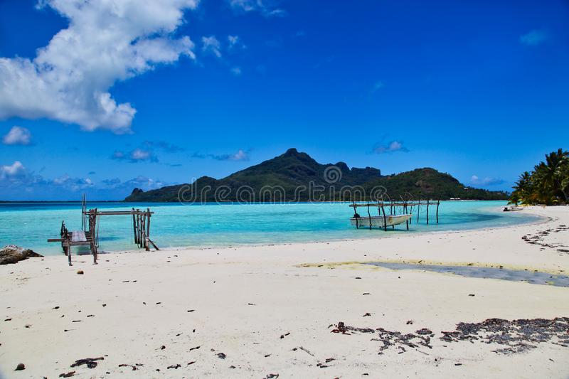 Maupiti beach, Tahiti island, French polynesia, close to Bora-Bora royalty free stock photos